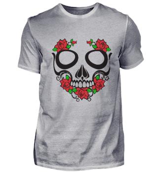 Skull-T-Shirt-Gift-Roses-Art