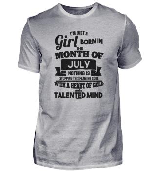 July birthday girl woman saying