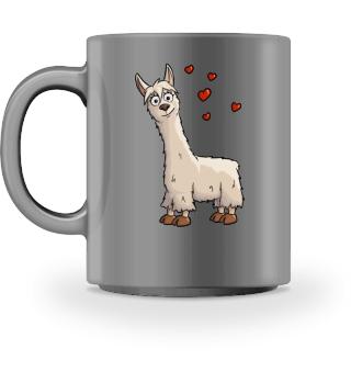 Süßes Lama mit Herzchen Alpaka Geschenk
