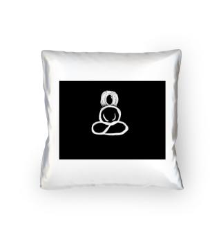 Satinkissen Buddhafrau schwarzweiss Zen