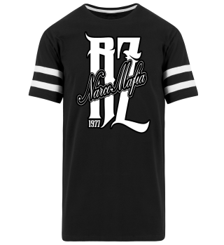 Herren Kurzarm T-Shirt Narco Mafia BW Striped Ramirez