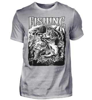 Angeln Angler Fishing schwarz-weiss
