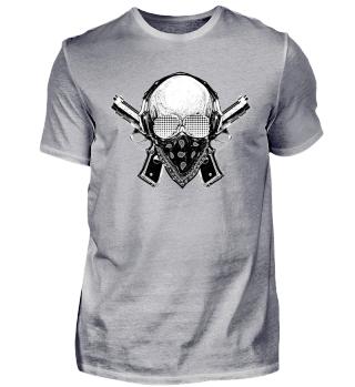 Gangster Totenkopf Skull Hip Hop Rap Hood Ghetto Guns Pistolen Bling Bling Hustle Style Streetwear