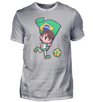 Brasilien Fahne Fussball Spieler Junge