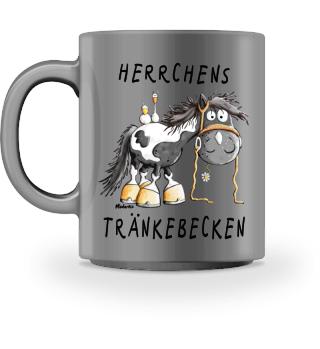 Herrchens Tränkebecken Pferd Schecke