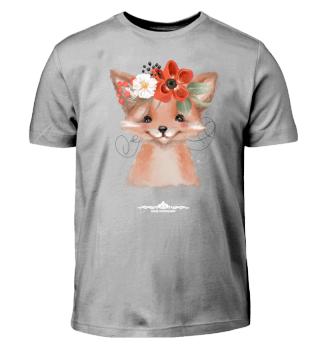 Fuchs mit Blumenschmuck