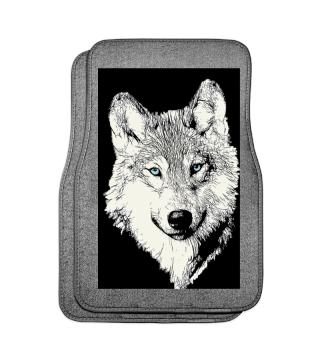 Weisser Wolf blaue Augen Automatten vorne