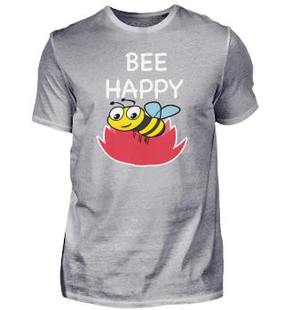 Bee Happy Blume Spruch süße Hummel